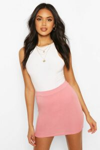 Womens Basic Jersey Mini Skirt - Pink - 10, Pink