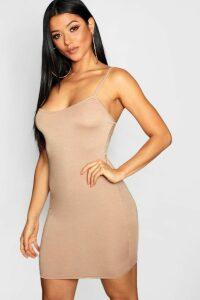 Womens Basic Strappy Cami Bodycon Dress - Beige - 16, Beige