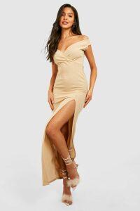 Womens Wrap Off The Shoulder Maxi Bridesmaid Dress - Beige - 14, Beige