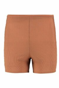 Womens Basic Ribbed Cycling Shorts - Brown - 14, Brown