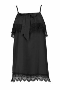 Womens Layered Square Neck Lace Shift Dress - black - 10, Black