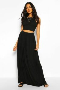 Womens Floor Sweeping Jersey Maxi Skirt - black - 14, Black