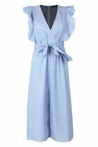 Womens Ruffle Shoulder Stripe Skater Dress - Blue - 12, Blue