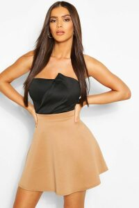Womens Basic Fit And Flare Skater Skirt - Beige - 12, Beige