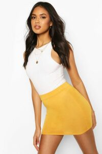 Womens Basic Jersey Mini Skirt - Yellow - 16, Yellow