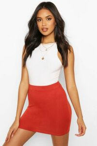Womens Basic Jersey Mini Skirt - Orange - 12, Orange