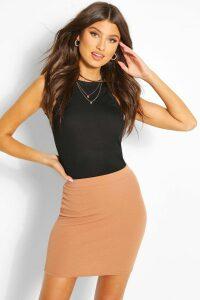 Womens Basic Pastel Crepe Micro Mini Skirt - Beige - 14, Beige