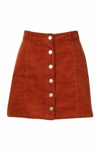 Womens Button Through Cord Mini Skirt - brown - 6, Brown