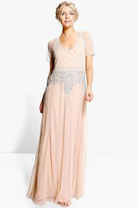 Womens Boutique Beaded Cap Sleeve Maxi Bridesmaid Dress - Beige - 14, Beige