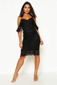Womens Lace Open Shoulder Midi Dress - Black - 14, Black