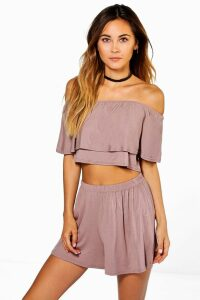 Womens Off The Shoulder Top + Short Co-ord - beige - 14, Beige