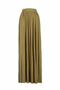 Womens Basic Floor Sweeping Jersey Maxi Skirt - green - 16, Green
