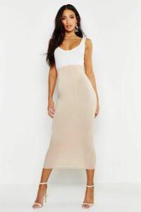 Womens Basic Jersey Midaxi Skirt - Beige - 6, Beige