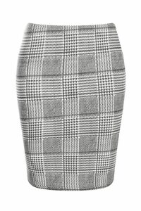 Womens Laura Dogtooth Check Basic Jersey Mini Skirt - black - 16, Black