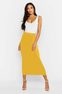 Womens Basic Jersey Midaxi Skirt - yellow - 14, Yellow
