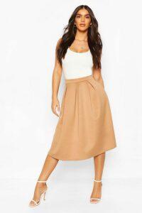 Womens Basic Box Pleat Midi Skirt - Beige - 8, Beige