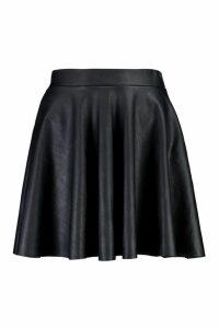 Womens Leather Look Full Skater Skirt - Black - 16, Black
