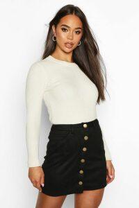 Womens Bonded Suede Button Through Mini Skirt - Black - 12, Black