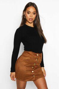 Womens Bonded Suede Button Through Mini Skirt - Brown - 10, Brown