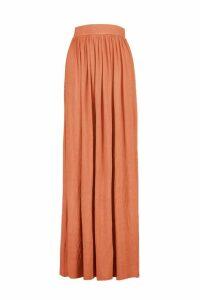 Womens Basic Floor Sweeping Jersey Maxi Skirt - orange - 16, Orange
