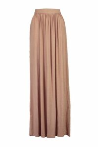 Womens Basic Floor Sweeping Jersey Maxi Skirt - beige - 16, Beige