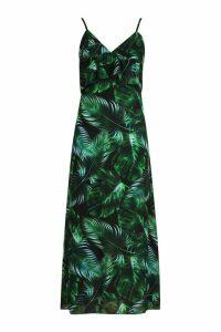 Womens Samantha Ruffle Palm Print Midaxi Dress - Black - 16, Black