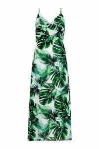 Womens Samantha Ruffle Palm Print Midaxi Dress - White - 16, White