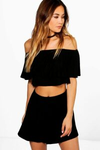 Womens Off The Shoulder Top + Short Co-Ord Set - Black - 10, Black