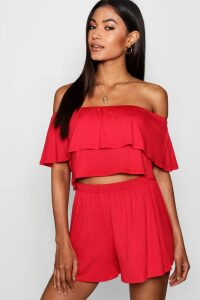 Womens Off The Shoulder Top + Short Co-ord - red - 14, Red