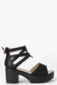 Womens Lace Up Two Part Cleated Sandals - Black - 8, Black