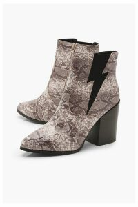 Womens Block Heel Pointed Toe Shoe Boots - beige - 3, Beige