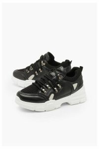 Womens Chunky Sole Lace Up Hiker Trainers - black - 4, Black