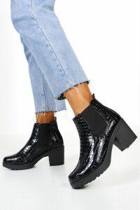 Womens Croc Patent Chunky Chelsea Boots - black - 7, Black