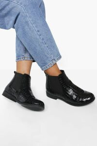 Womens Patent Croc Chelsea Boots - black - 7, Black
