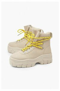 Womens Lace Up Hiker Trainers - beige - 8, Beige