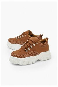 Womens Croc Panel Chunky Hiker Trainers - brown - 3, Brown