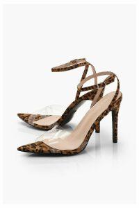 Womens Leopard Two Part Clear Strap Stiletto Heels - multi - 3, Multi