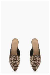 Womens Leopard Pointed Mule Loafers - multi - 4, Multi