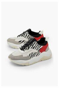 Womens Zebra Panel Chunky Sole Trainers - grey - 7, Grey