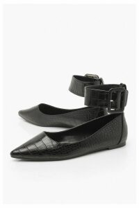Womens Buckle Belt Pointed Flat Ballets - black - 7, Black