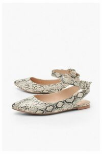Womens Snake Wrap Belt Pointed Flats - grey - 5, Grey