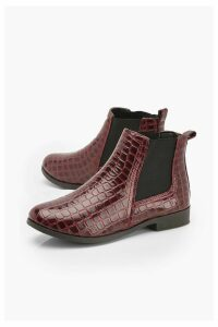 Womens Croc Patent Chelsea Boots - red - 6, Red