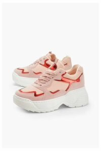 Womens Holographic Panel Chunky Sole Trainers - Pink - 5, Pink