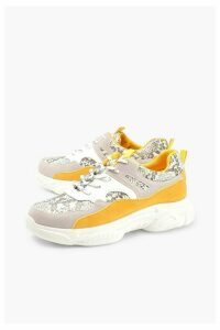 Womens Snake Colour Block Chunky Sole Trainers - grey - 8, Grey