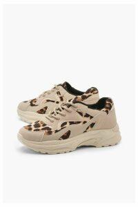Womens Leopard Panel Chunky Sole Trainers - beige - 7, Beige