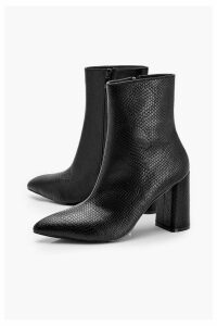 Womens Snake Detail Pointed Sock Boots - black - 8, Black