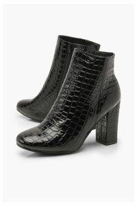 Womens Croc Patent Block Heel Shoe Boots - black - 8, Black