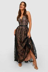 Womens Boutique Lace Plunge Maxi Bridesmaid Dress - Black - M, Black