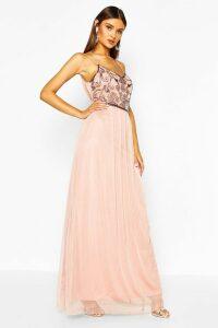 Womens Boutique Embellished Prom Maxi Dress - Beige - 16, Beige