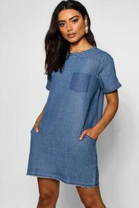 Womens Slouch Pocket Denim Dress - Blue - 12, Blue